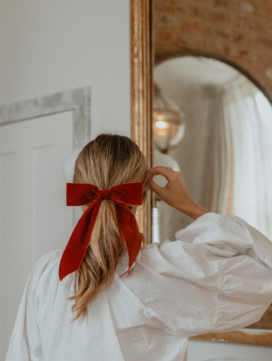 Burnt Orange Velvet Hair Ribbon