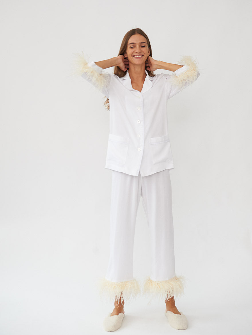 Party Pyjama Set with Feathers in White