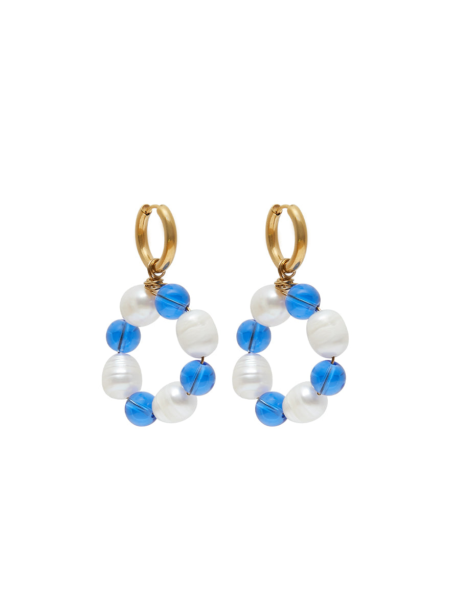 Roro Blue Glass Hoops