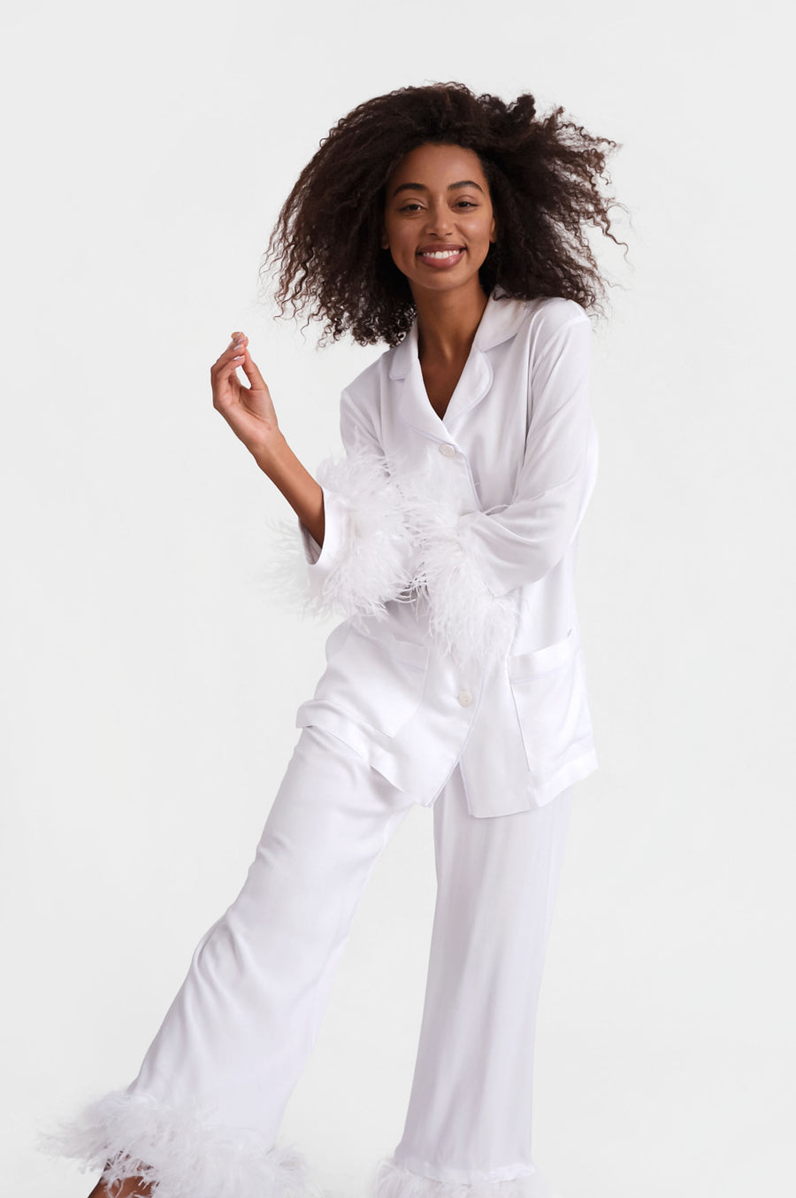 Party Pyjama Set with detachable Feathers in White
