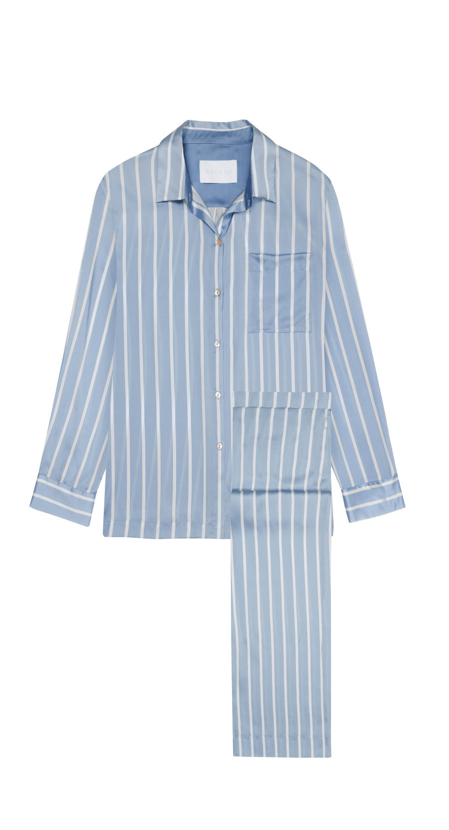 Sky Blue Stripe Silk Pyjama Set