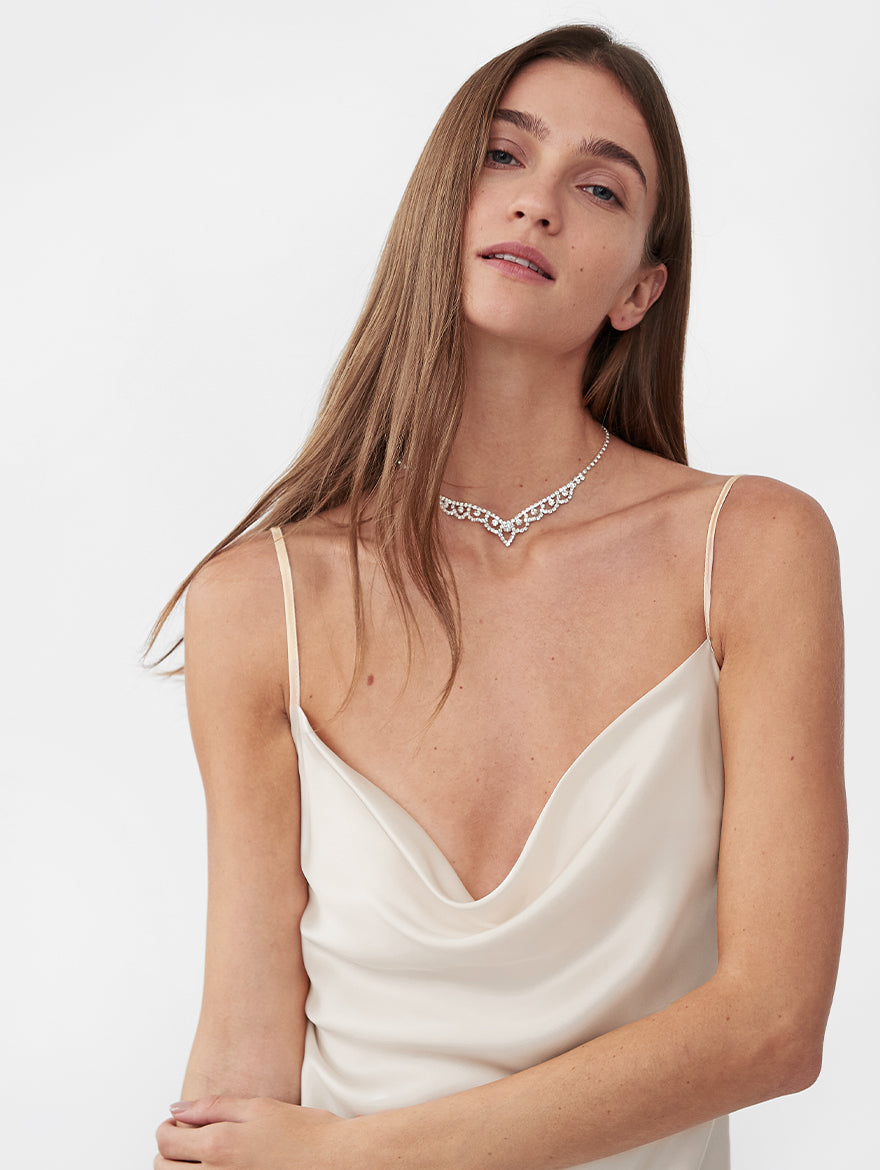 Silk Slip Dress in White
