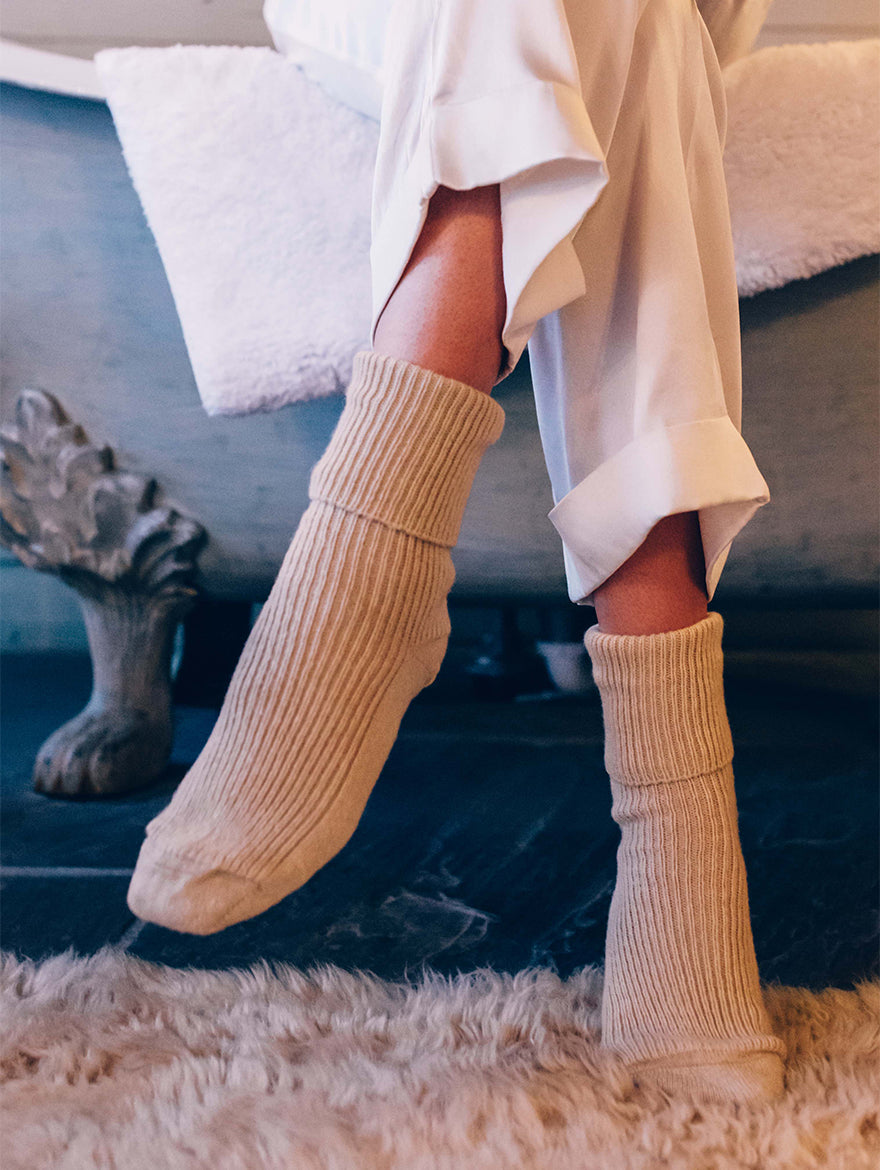 Cashmere bed-socks, Soft Beige
