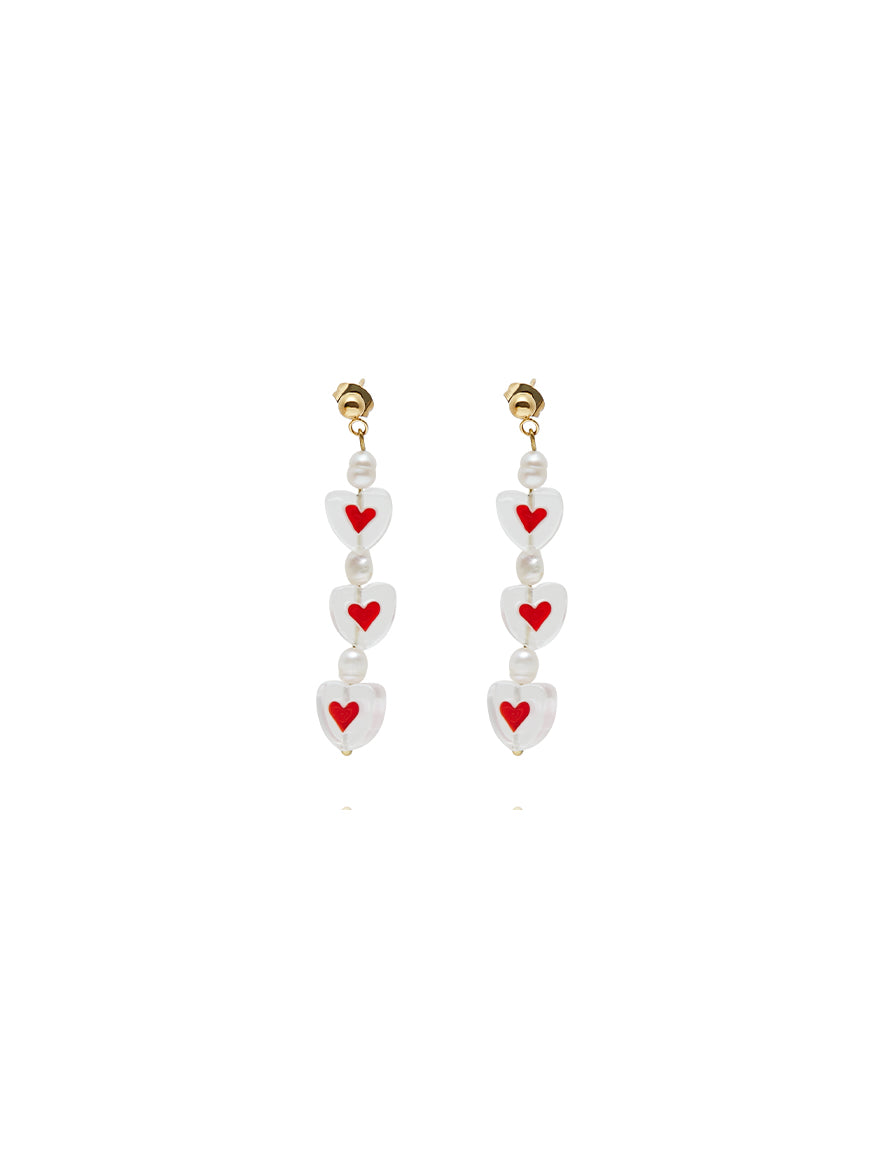 Triple Love Red Earrings