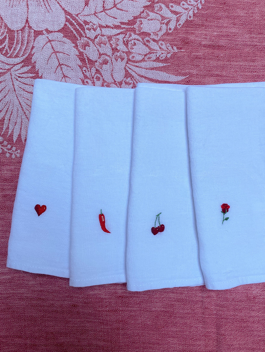 A Set of 4 Red Hot Napkins