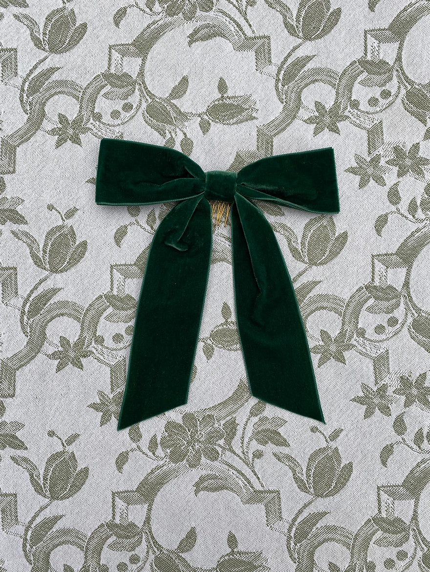 Bottle Green Velvet Hair Ribbon
