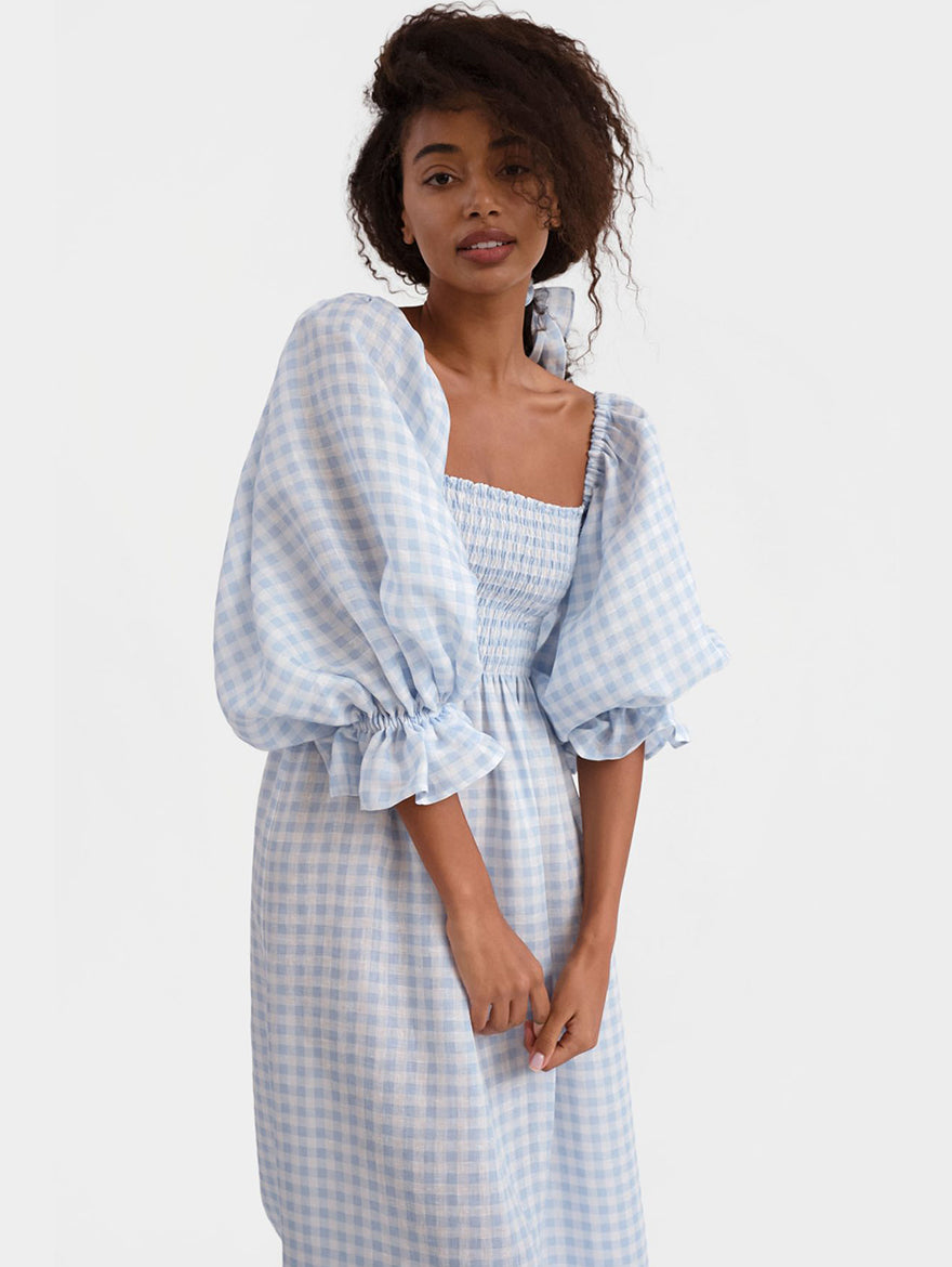 Atlanta Linen Dress in Vichy Blue