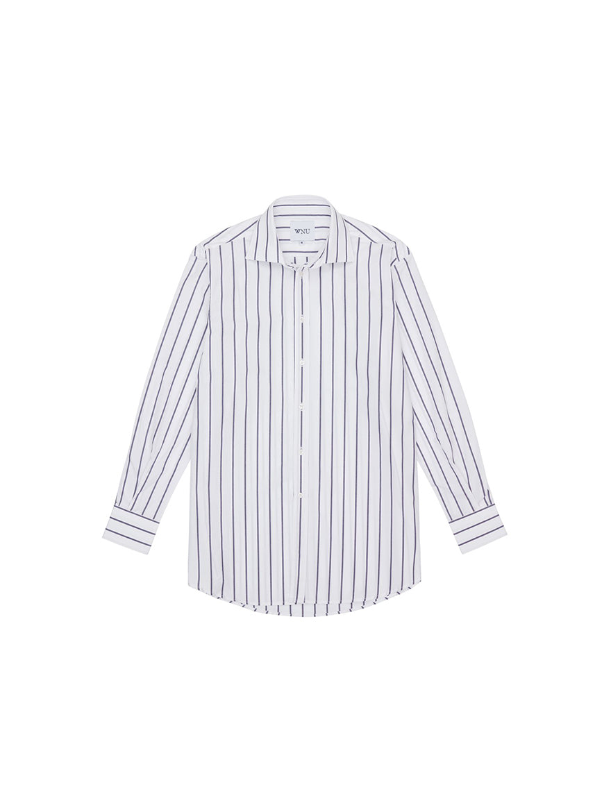 Midnight Blue Stripe Boyfriend Shirt