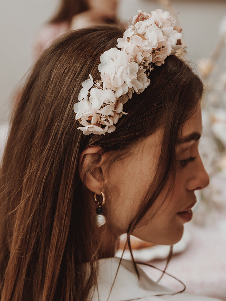 White & Pink Boho Flower Crown