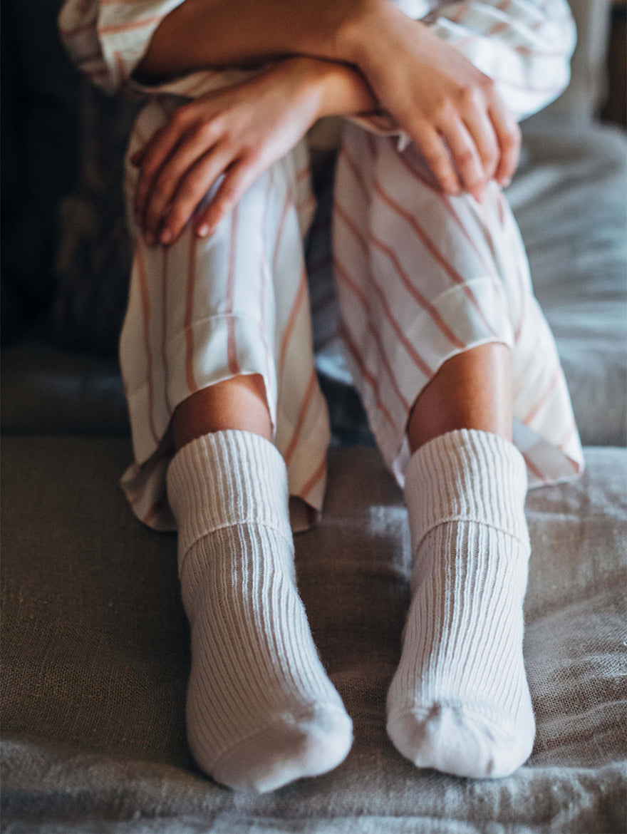 Cashmere bed-socks, White