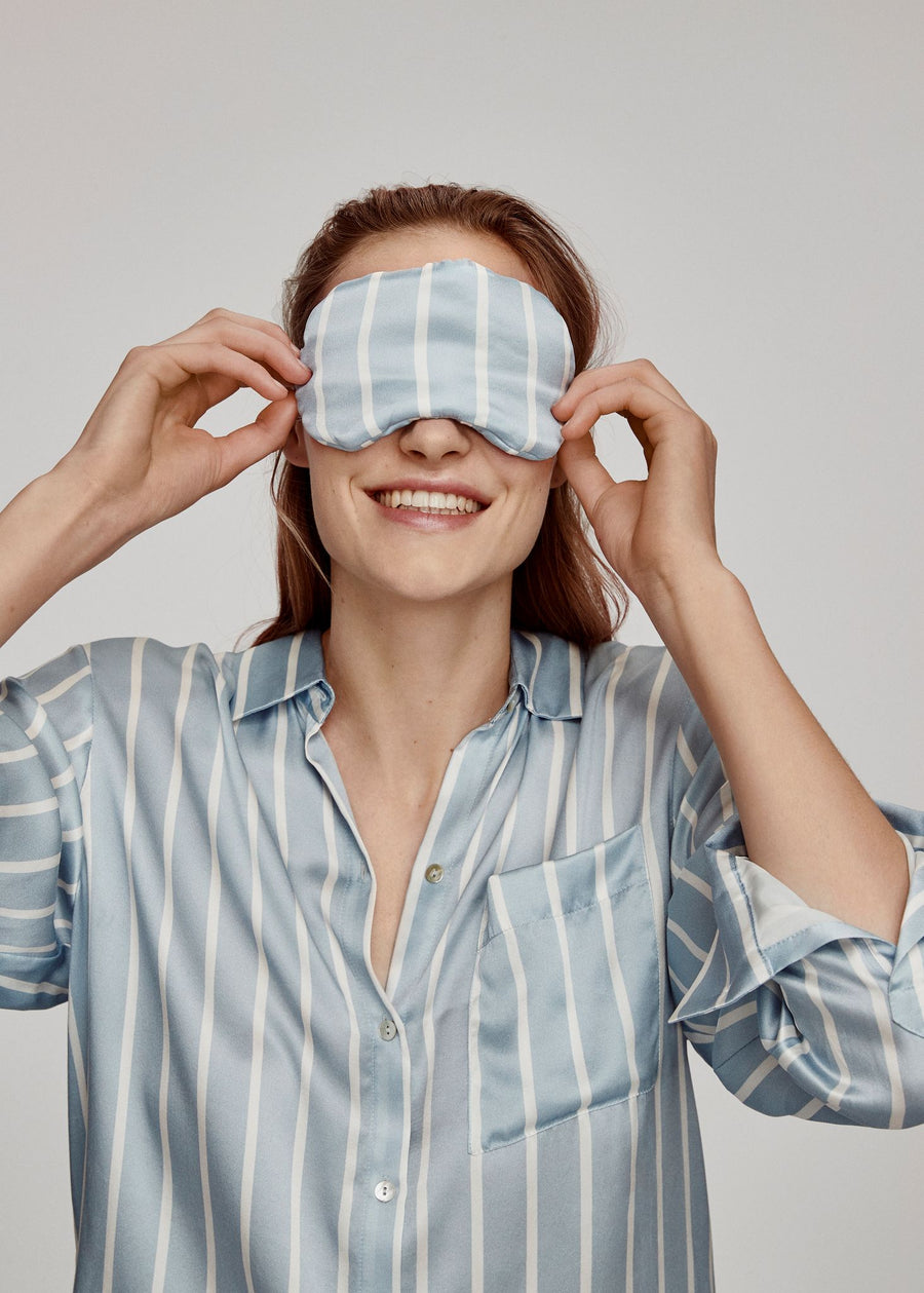 Sky Blue Stripe Silk Eye Mask