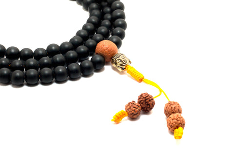 Black Shaligram Beads Mala Necklace | Handmade Necklace - yala garden
