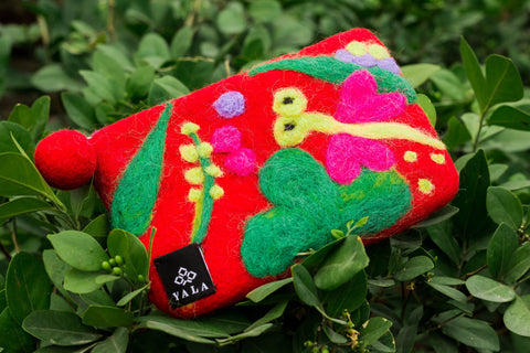 Dragonfly Purse | Felt Woolen Dragonfly Bag | Handmade Handbag | Red & Green - yala garden