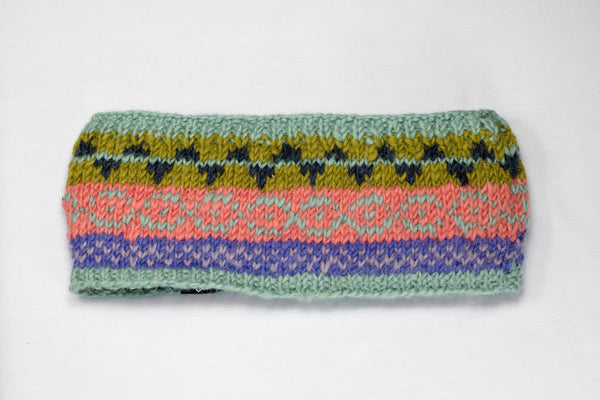 Woolen Headband | Handmade | Green, Blue & Pink Mixed