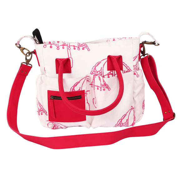 Diaper Bag in Handblock printed Canvas. Leather-Free. Multiple pockets