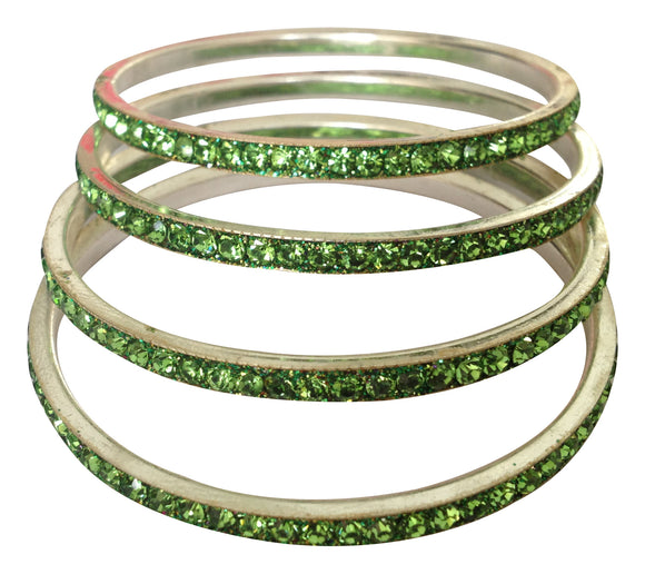 Girls Green 24 metallic Bangles Set