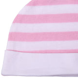 Dark Pink Stripes Print Newborn Baby Cotton Jersey Caps