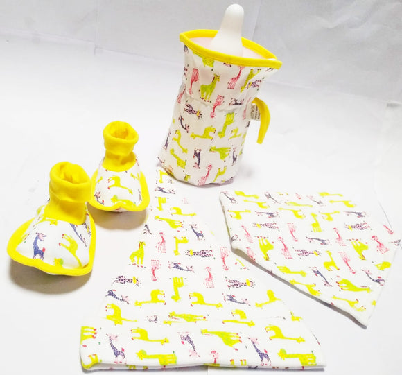 Bottle over, booties and matching bib and cap