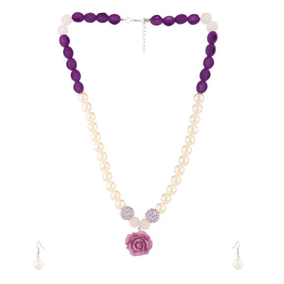 Purple Pearl & Resin Rose Designer jewelry set for Girls