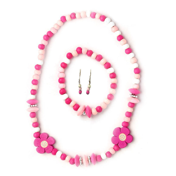 Flower Pink & White Organic wooden jewelry set for Girls