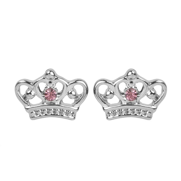 Princess Crown Crystal Earring Studs for Girls