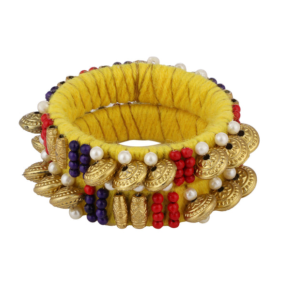Girls Ethnic Beads and Pearls Yellow Bangle Set