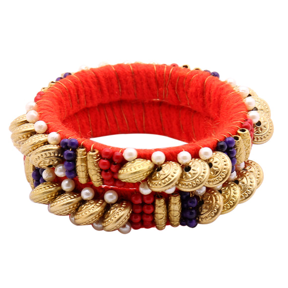 Girls Ethnic Beads and Pearls Red Bangle Set
