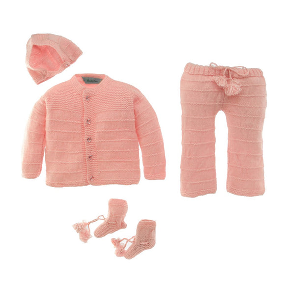 Pink Newborn Handknitted 4 pc Sweater Jumper set