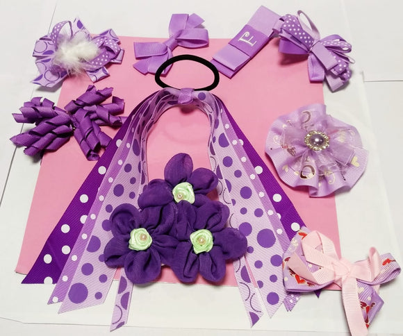 9 Pc Purple Hair Accessory Set for Baby - Value Pack