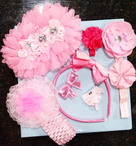 8 Pc Pink Hair Accessory Set for Baby - Value Pack