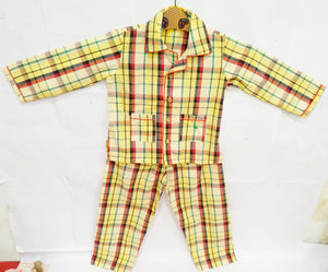 Checkered Collar Nightsuit in Cotton