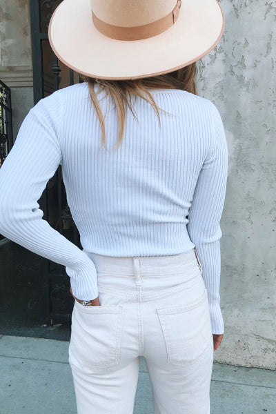 TOWN RIBBED L/S BODYSUIT (WHITE)