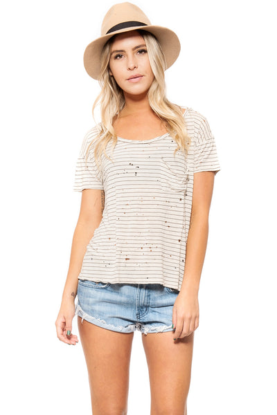 DESTROYED TWIST NECK POCKET TEE
