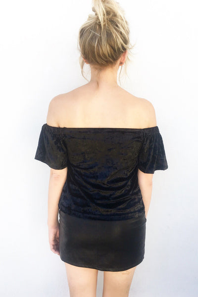 CAN'T STOP VELVET OFF-SHOULDER
