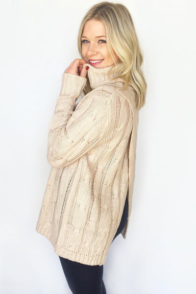 CREPE KNIT TURTLENECK