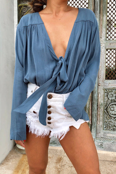GO WITH EVERYTHING BODYSUIT (DUSTY BLUE)
