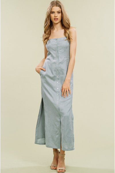 LINEN BUTTON UP MAXI (SAGE)