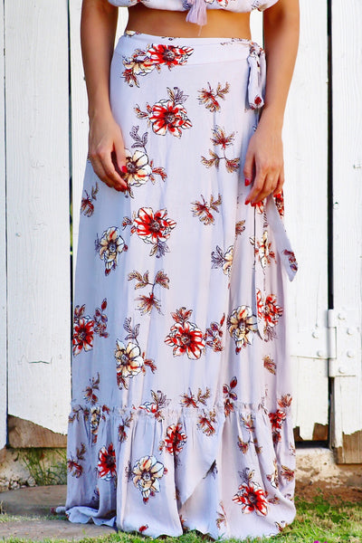 LILAC FLORAL MAXI SKIRT