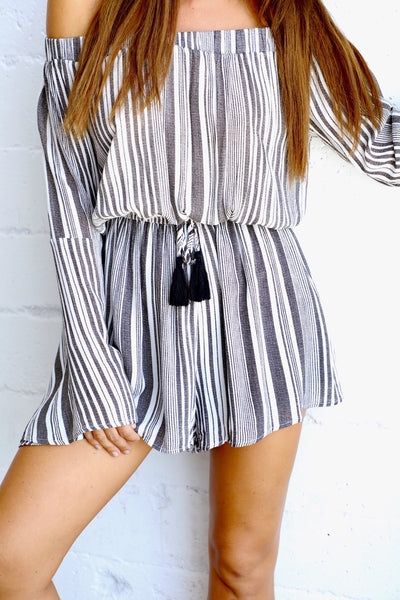 DECEPTION STRIPED ROMPER