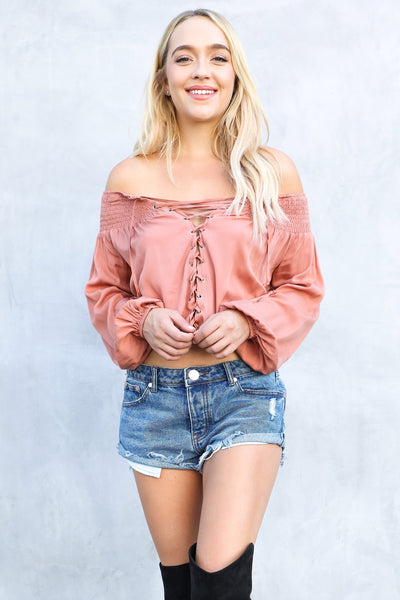 LOVER LACE-UP BLOUSE