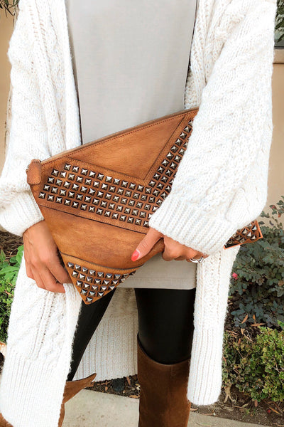 STUDLY LEATHER CLUTCH