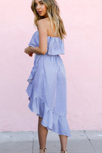 ALL ABOARD RUFFLE DRESS