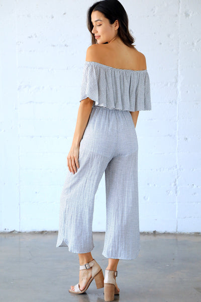 GOLDEN HOUR RUFFLE PANTSUIT (STRIPE)
