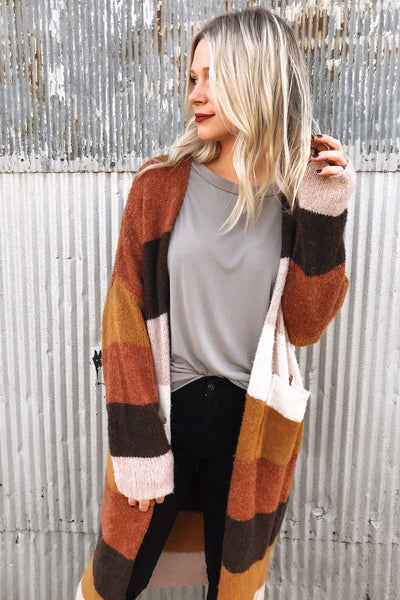 FALL FOLIAGE COLORBLOCK CARDIGAN