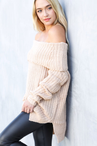ARIEL COWL NECK KNIT (BLUSH)