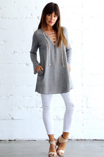 LACE ME UP FRENCH TERRY TUNIC