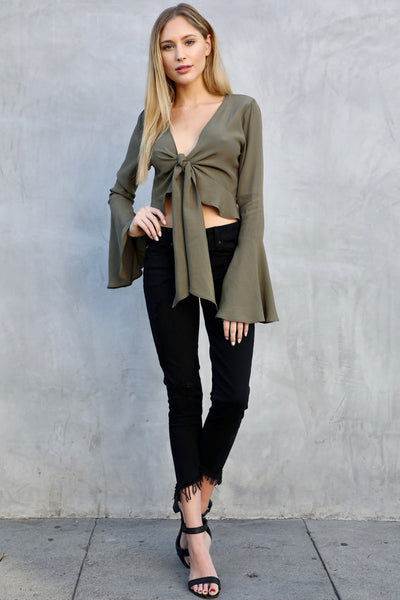 NAPLES RUFFLE CROP (OLIVE)