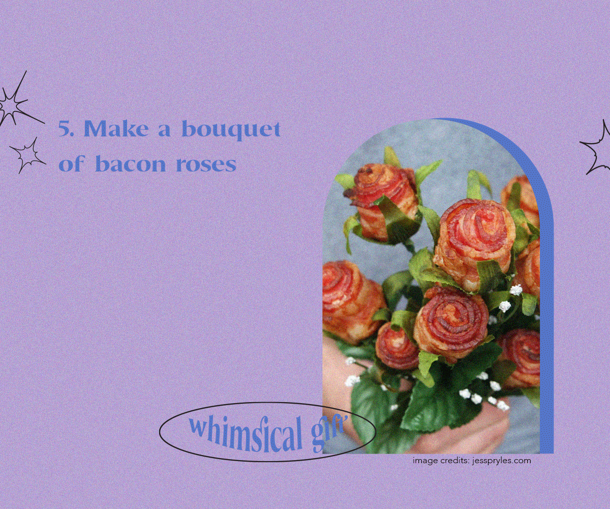 Make a bouquet of bacon roses