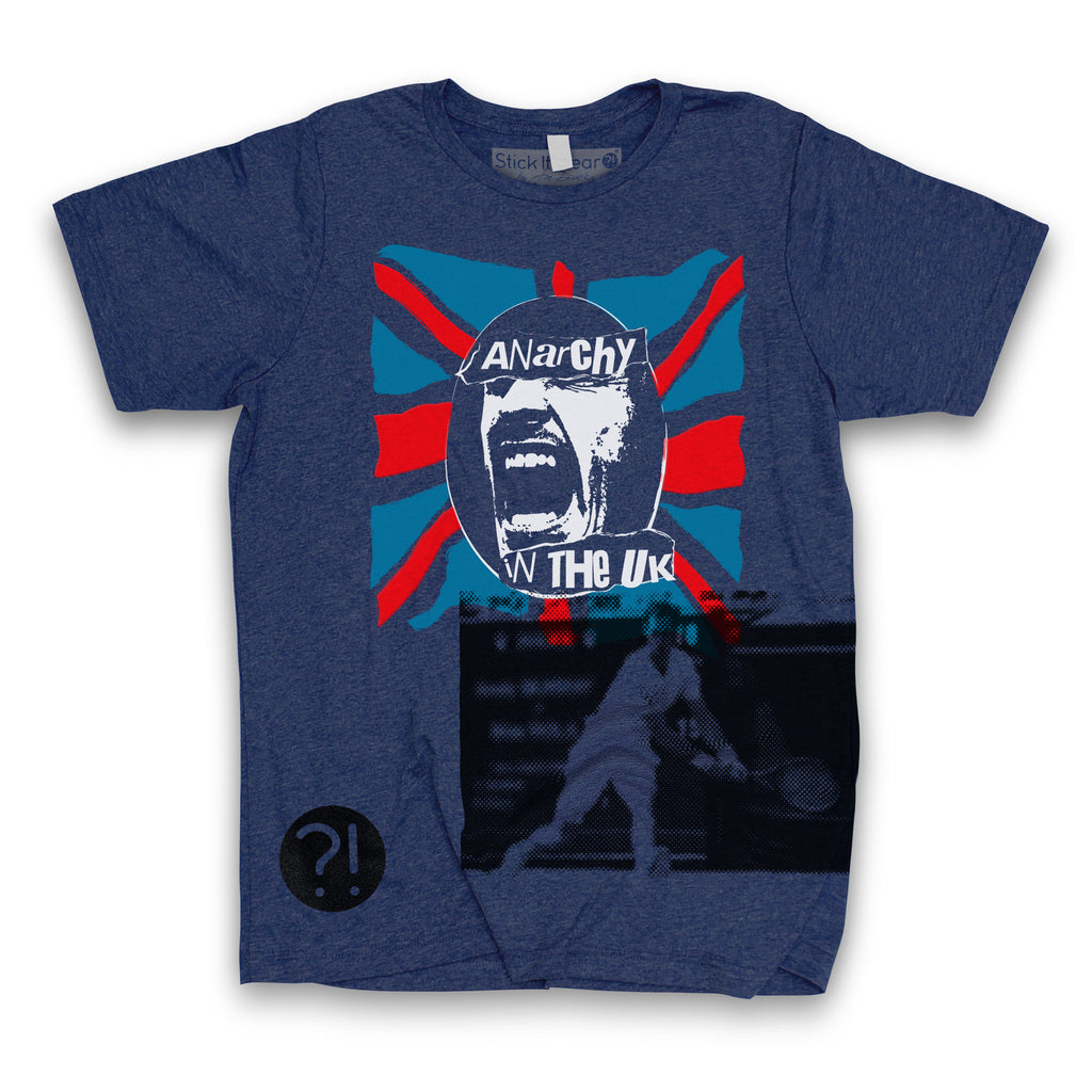 Front of Stick it Wear?! 'ANARCHY IN THE UK' Tennis Crew T-shirt in navy.