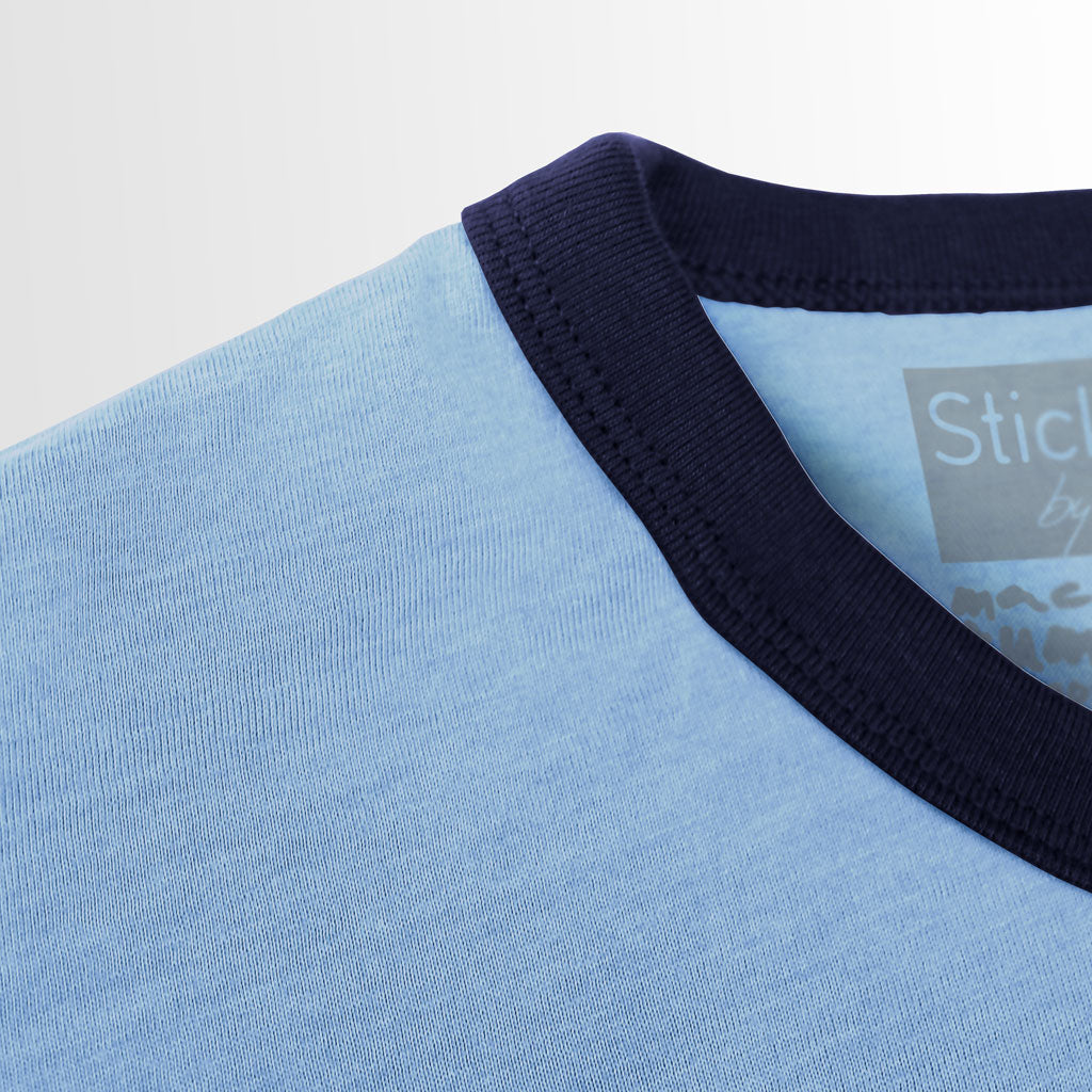 Collar of Stick it Wear?! ARGENTINA Soccer Vintage Ringer t-shirt in blue.